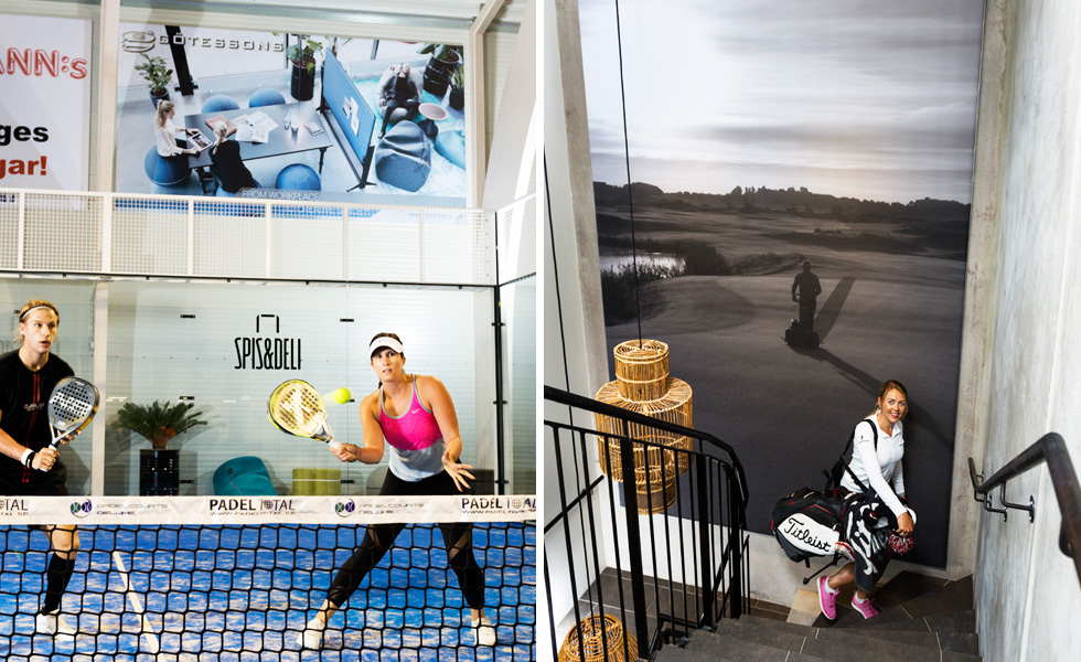 Left: BIGPRINT sound absorbers used for advertising in paddel tennis hall. Right: Portrait style BIGPRINT in stairway.